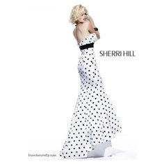 Sherri Hill Black and White Polka Dot Long Prom Dress 2868 ❤ liked on Polyvore