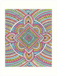 'Multicolor Mandala' Art Print by Sarah Oelerich - Available on Redbubble #mandala #art #design #artprint #homedecor