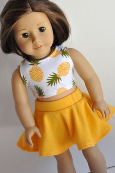 18 Inch Doll Clothes Pineapple Print Crop Top by CircleCSewing