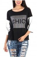 Chic Print Silver Sleeve Top - Black / Silver
