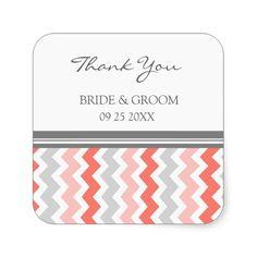 Coral Grey Chevron Thank You Wedding Favor Tags Square Sticker