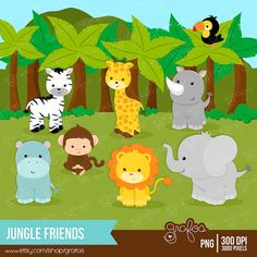 JUNGLE FRIENDS Digital Clipart, Animals Clipart, Zoo Clipart , Baptism Clipart…