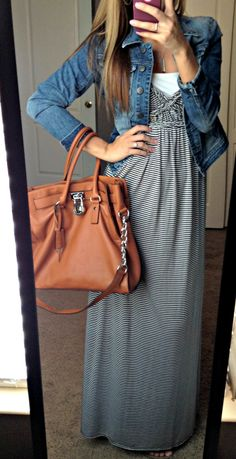long maxi dress with jean jacket- I am in love with this look!