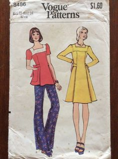 1970s boho chic dress tunic and pants Vogue 8486 vintage sewing pattern Bust 34 Waist 26.6 Hip 36 retro 70s disco era hippie chick bohemian by 101VintagePatterns on Etsy