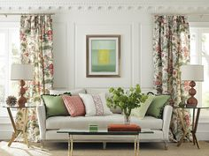 Shenyang Linen Print, Preston Cotton Plaid, Kent Stripe, Toscana Linen, Coventry Embroidered Tape and Tribeca Sofa