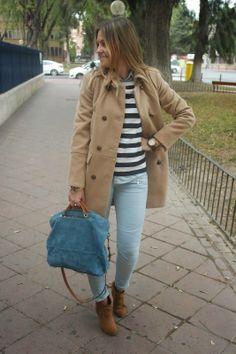 temporada de otoño  con abrigo marron topo de Zara, jeans de pitillo y botines de tacon para un dia de compras con las amigas