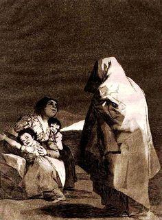 """""""Que viene el coco"""" - """"Los Caprichos"""" (1799, Francisco de Goya). En este grabado Goya representa el momento en que la madre y los hijos contemplan asustados que, efectivamente, el coco ha sido invocado y ¡ha aparecido!"""