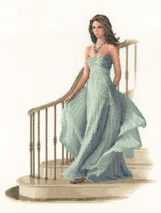 A lovely lady in a lovely dress making a grand entrance.John Clayton.  60.09