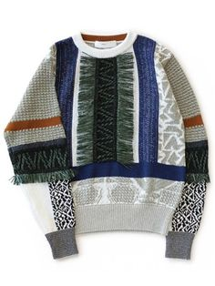 Mix Jacquard Knit Pullover (grey)