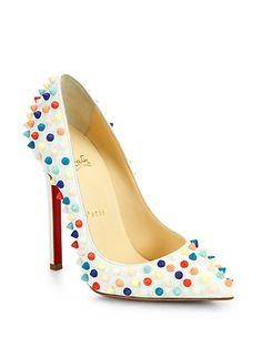 Christian Louboutin - Pigalle 120 Multicolor Spiked Leather Pumps - Saks.com