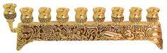 Brass Filigree Hanukah Menorah - gold color