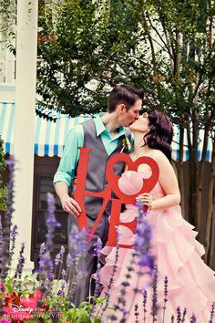 Disney love.   (Cute idea for engagement pictures @Francesca Scordo )  :)