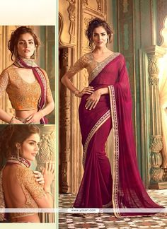 Wine Embroidered Work Georgette Classic Saree Model: YOSAR7839