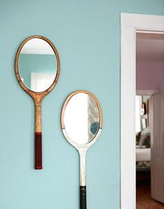 Tennis Racket Mirror: A new life for your beloved old racket. [I love how just about everything can be re-purposed]