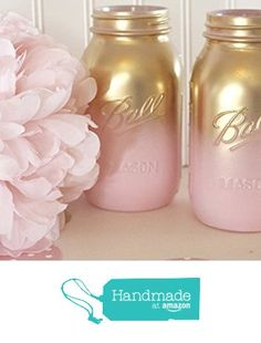 Pink and Gold Ombre Mason Jars Baby Shower Mason Jars  Bridal Shower or a romantic addition to your master bedroom perhaps? These would be beautiful as a wedding centerpiece. Love mason jars! Found these here http://amzn.to/2bSfxNr (affiliate)