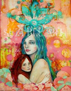 Print of The Unbreakable Bond Original Mixed Media Painting by SuziBlu