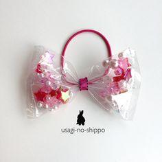 キラキラ☆星とパールのリボンヘアゴム【ピンク】