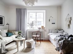 7 One Room Apartment Decor Pin by Sharon Voldby on Indretning Single Apartment, One Room Apartment, Apartment Bedroom Decor, Apartment Interior, Apartment Design, Apartment Living, Apartment Decoration, Small Apartment Decorating, Home Living