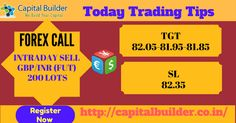 👉Today Trading Signal 👉 ✔#FOREX CALL- #INTRADAY SELL #GBP/INR (FUT)  200 LOTS BELOW  82.15: TGT-82.05-81.95-81.85: SL -82.35  Register Now, Hurry Uppppp!!!! #CApitalBuilder #StockTips #CommodityTips #HniTradingTips #ForexTips For more information ✆ +918815278555 or Visit http://capitalbuilder.co.in/