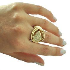 Anel banhado a ouro 18k, cravejado com zircônias brancas. Acessem: http://brilhe.me