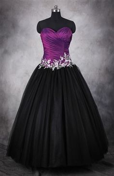Bi-color Pleated Waist Applique Ball Gown - Prom Dresses - OuterInner.com 159 I WANT