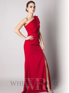 Red Velvet One Shoulder Dress