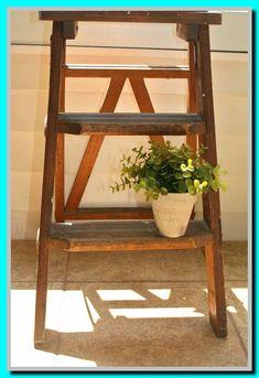 Vintage Antique Wooden Step Ladder Cottage Chic Decor Vintage Shelf Display Plant or Book Stand