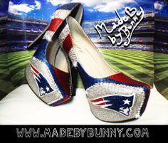 New England Patriots NFL Football Glitter Sports Heels with Crystal Rhinestones
