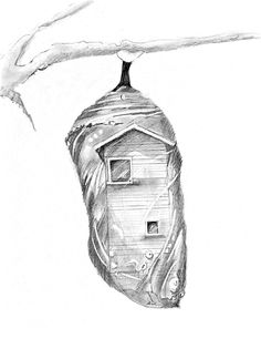 Commissioned drawing for the Escapist building which is now the Chrysalis Building.  The graphite drawing depicts the Escapist Building surrounded by a Chrysalis (as in butterfly cocoon). While artist are in the program they are in a cocoon and when they graduate they emerge and soar.
