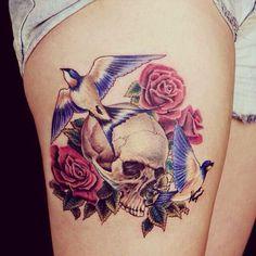Bird and Flower Skull Tattoo on Thigh for Girls