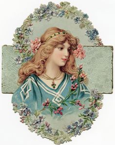 Victorian trading card with image of a beautiful woman & flowers.