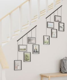 Display your favorite photos in an eye-catching fashion using the new Exhibit Photo Display. Exhibit features five hanging, gallery-style… Decorating Stairway Walls, Staircase Wall Decor, Stair Walls, Gallery Wall Staircase, Decorating Tall Walls, Ideas For Stairway Walls, Basement Stairwell Ideas, Stair Landing Decor, Stair Decor