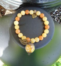 bracelet topaz carnelian 7 in stretch by celestialmoonjourney
