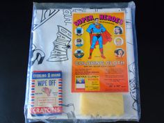 DC Comics c.1978 Super Heroes  Wipe-Off Crayon Reusable Plastic Coloring Table Cloth Batman Superman Wonder Woman Robin Batgirl