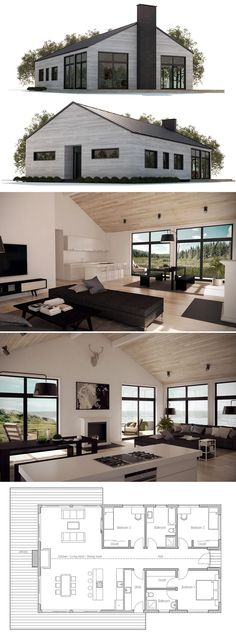 This is genius! From the pictures, you wouldn't even kno… Small House Plan. This is genius! From the pictures, you wouldn't even know it's a small house! Love the open and shared space Of the kitchen, living room, and dining room! Building A Container Home, Container House Plans, Container Homes, Small House Plans, House Floor Plans, Open Plan House, Barndominium Floor Plans, Casas Containers, House Layouts