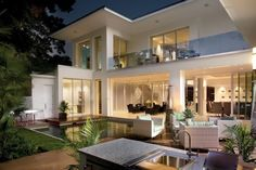 Passionate House Plans with Pools for Outdoor and Indoor Courtyard: Amazing Contemporary Exterior With House Plans With Pools Used Outdoor Dining And Modern Furniture Design Ideas ~ BESS Architecture Inspiration Design Exterior, Modern Exterior, Style At Home, Kb Homes, Villa, Foyers, My Dream Home, Dream Homes, Outdoor Spaces