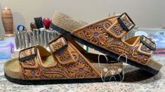 I'm madly in love with these handtooled Birkenstocks.