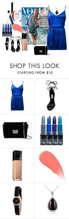 """""""Greece Night"""" by yixingunicorn ❤ liked on Polyvore featuring Steve Madden, Jimmy Choo, Maybelline, Burberry, Marc by Marc Jacobs and Kobelli"""