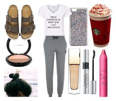 """Stereotypical White Girl #2"" by laughlikecrazy on Polyvore featuring J.Crew, Karl Lagerfeld, MAC Cosmetics, Birkenstock, Clarins, Christian Dior and tarte"