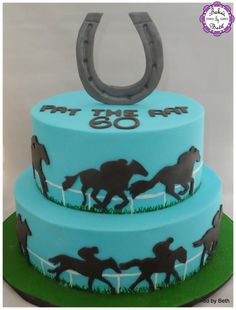 Horse Racing - Cake by BakedbyBeth Delicious Cake Recipes, Yummy Cakes, Renn Kuchen, Racing Cake, Grit Cakes, Best Beef Jerky, One Layer Cakes, Sport Cakes, Horse Cake