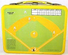 1969 Play Ball Baseball Lunch Box with Magnetic Game Wooden Pencil Box, Pencil Boxes, Trapper Keeper, Vintage Lunch Boxes, School Lunch Box, Metal Lunch Box, Childhood Days, Lunch Time, Vintage Toys