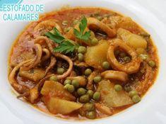 estofado de calamares deliciosos Spanish Kitchen, Easy Family Meals, Nachos, Entrees, Black Eyed Peas, Seafood, Recipies, Food And Drink, Cooking Recipes