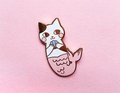 Pines de esmalte duro de MerMeow oro rosa / / esmalte / / sirena gato Pin de…