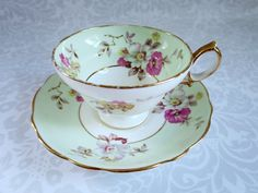 Mint Green Teacup and Saucer / Vintage Pistachio Green and Pink Tea Cup and Saucer Set / Dogwood Blossom Cup and Saucer
