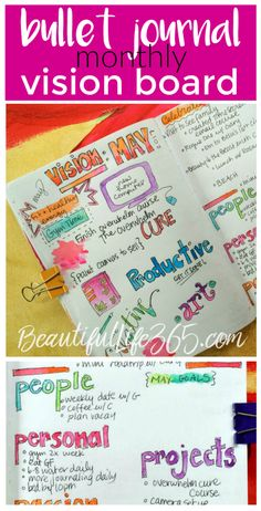Bullet Journal Monthly Vision Board to help you reach your goals and live your best life! -- from BeautifulLife365.com