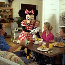 Disney does allow some character meals featuring Disney characters in some non-Disney-owned hotels near Disney World.  You can see a list of locations at http://www.squidoo.com/disney-character-meals