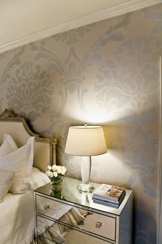 This would be so easy to do with Modello masking stencils. Hmmmm. which pattern? There are hundreds to choose from! http://bit.ly/wfK8WX