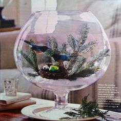 BHG December 2011 issue  Use fir sprigs, faux snow, birds and mini ornaments for eggs to create a centerpiece in a bowl or vase.   I love this!