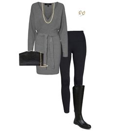 Casual party outfits - sweater dress and boots | 40plusstyle.com
