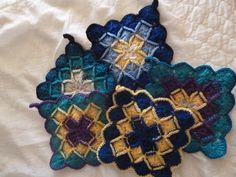 Crocheted pot holders in Bavarian crochet stitch by teddybearmargaret